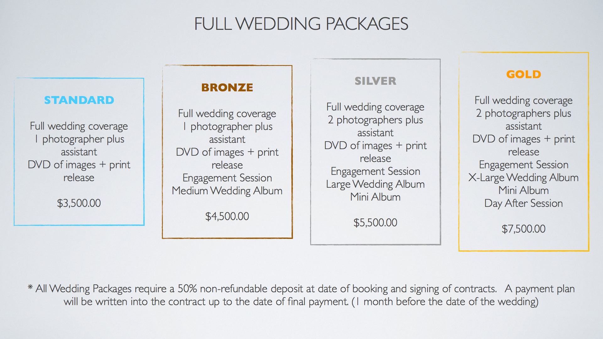 Wedding Photography Pricing Packages: Destination Wedding Photography Contracts